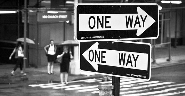 One way signs pointing both ways